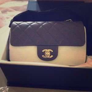 Chanel mini gray with gold
